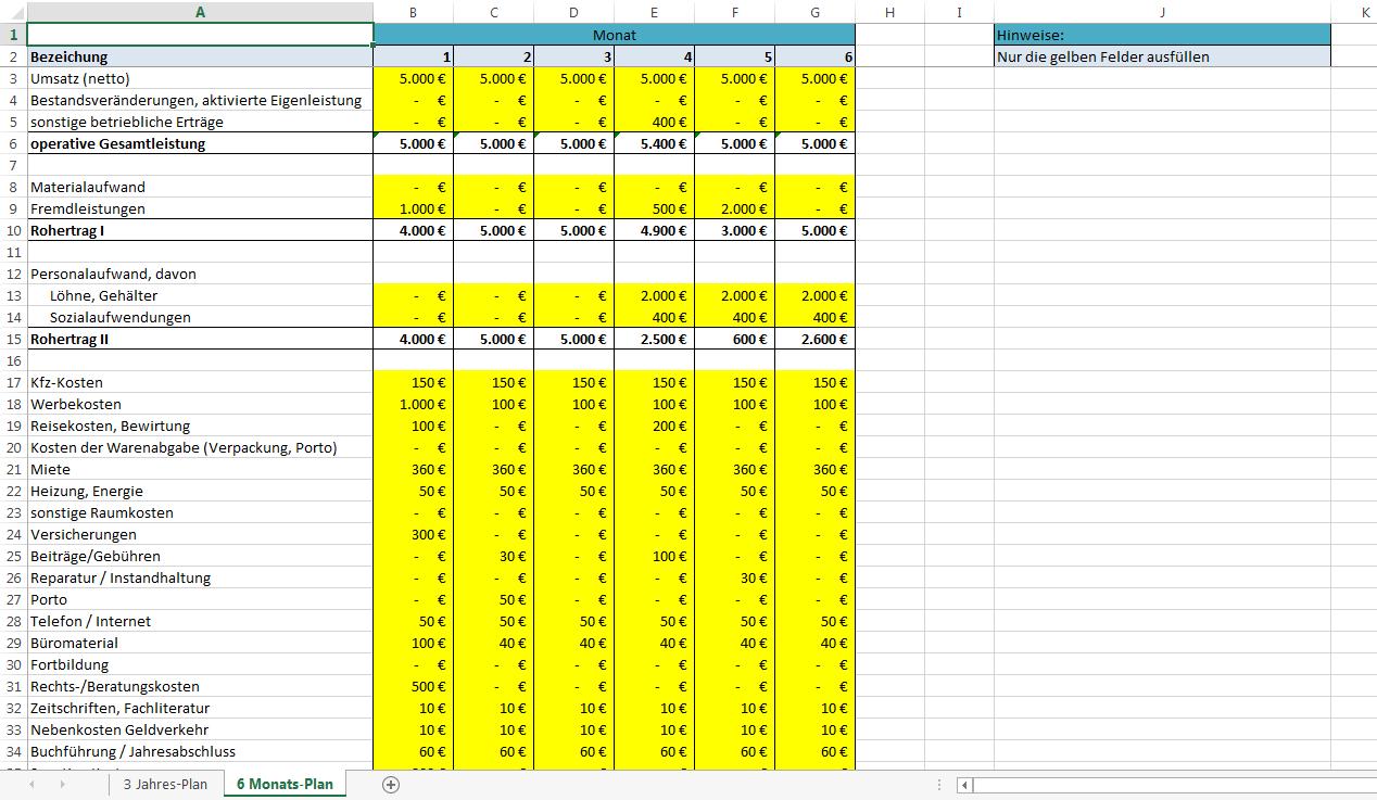 Excel-Vorlage-Rentabilitätsplanung: kostenlose Vorlage » Pierre Tunger