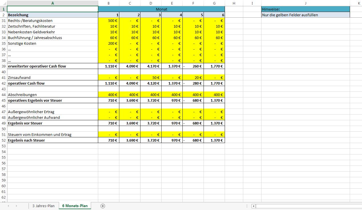 excel vorlage rentabilitaetsplanung 3 - Einnahmenuberschussrechnung Beispiel