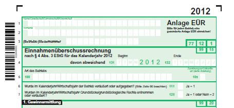 Anlage EÜR 2012 mit den bisherigen Betriebsausgaben