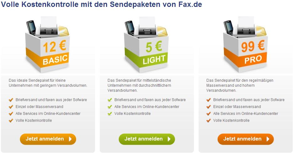 FAX.de Produkte und Preise
