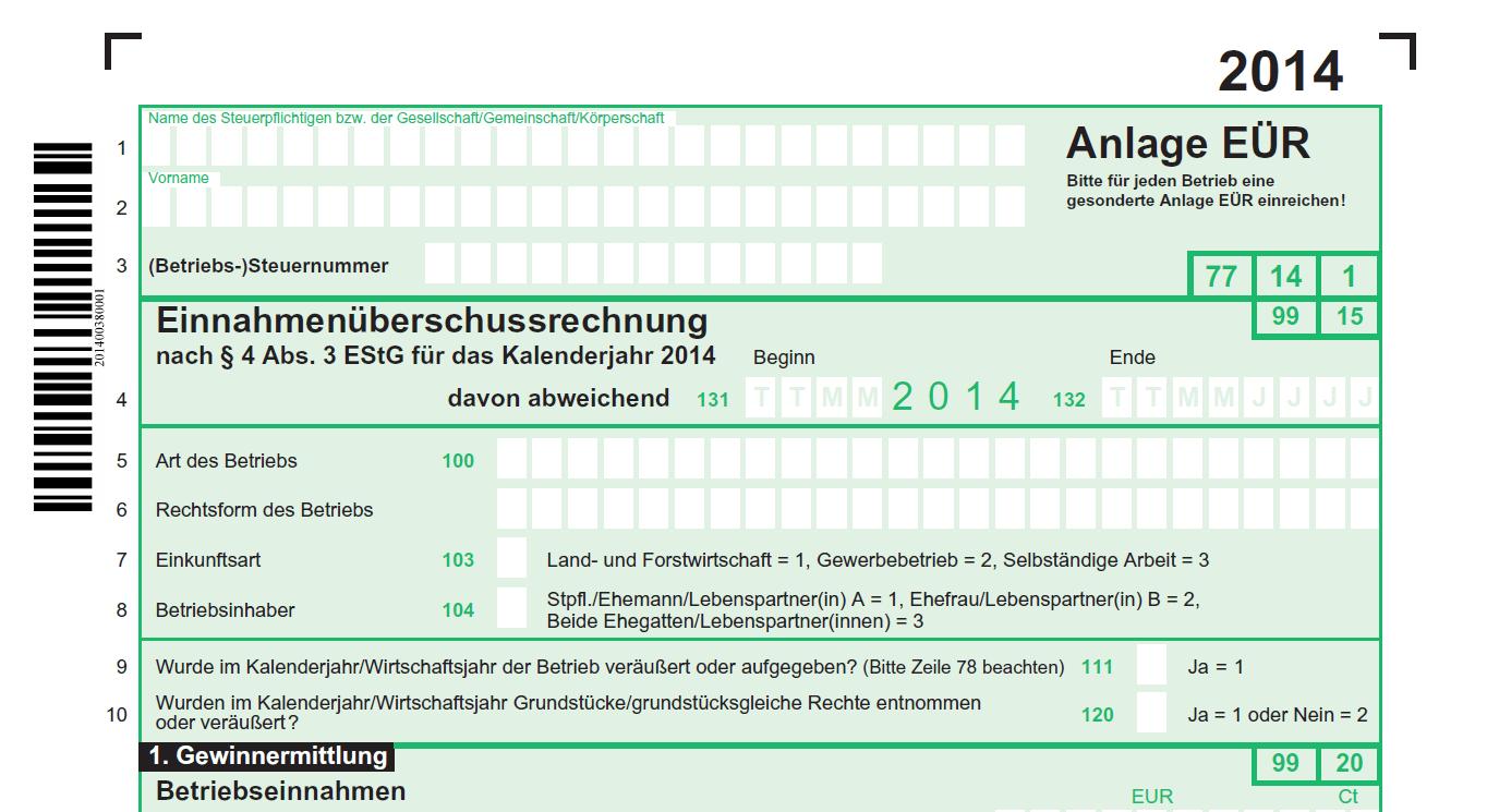 Anlage EÜR 2014