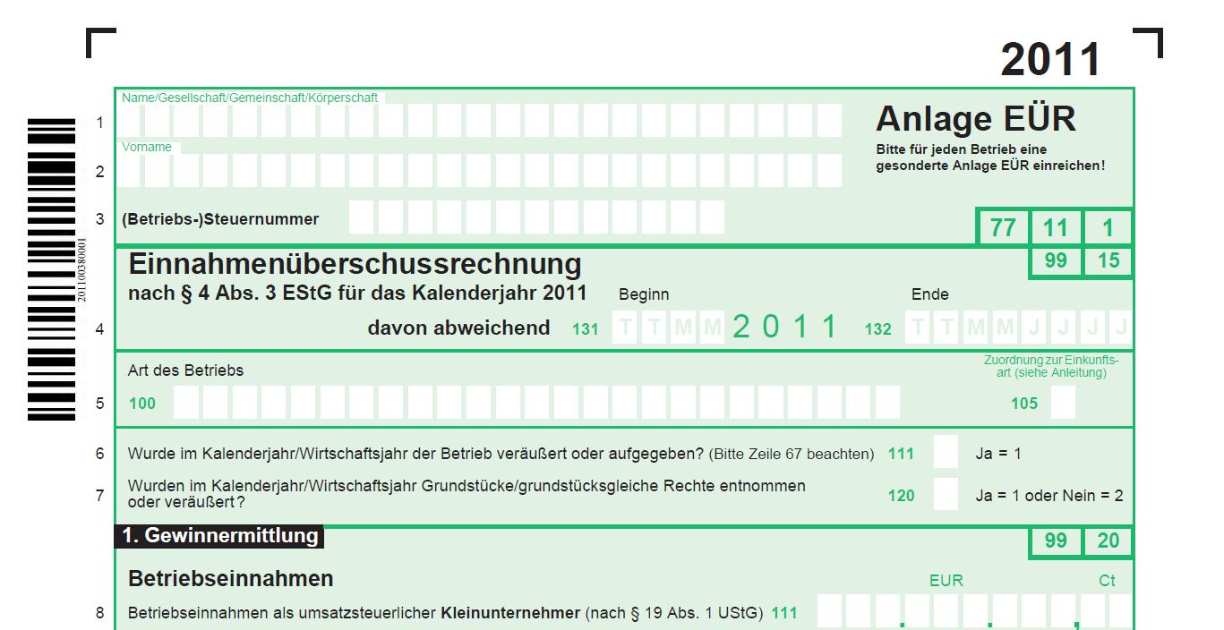 Anlage Einnahmenüberschussrechnung 2011 komplett