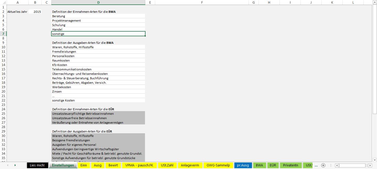 Excel-Vorlage-Einnahmen-Überschuss-Rechnung-2015-Einstellungen