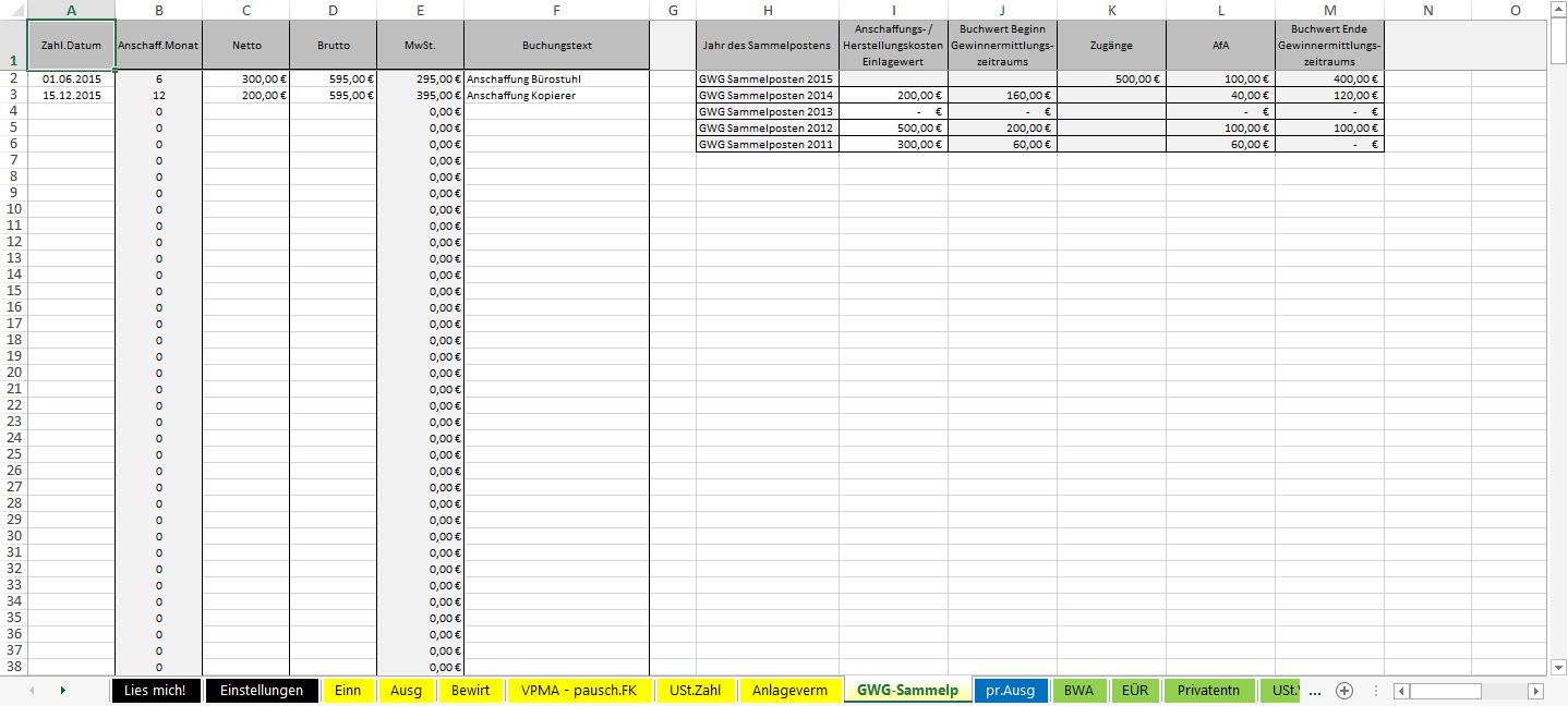 Excel Vorlage Einnahmenüberschussrechnung Eür 2015 Pierre Tunger
