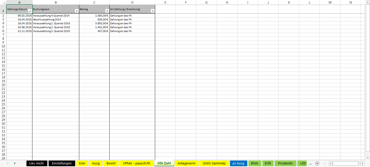 Excel-Vorlage-Einnahmen-Überschuss-Rechnung-2015-USt-Zahlungen