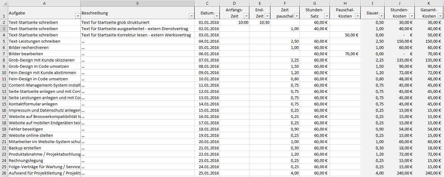 Excel-Vorlage Projekt-Kalkulation-Controlling » Pierre Tunger