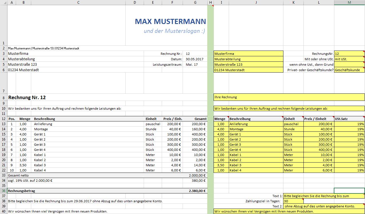 Excel Rechnungsvorlage Pierre Tunger