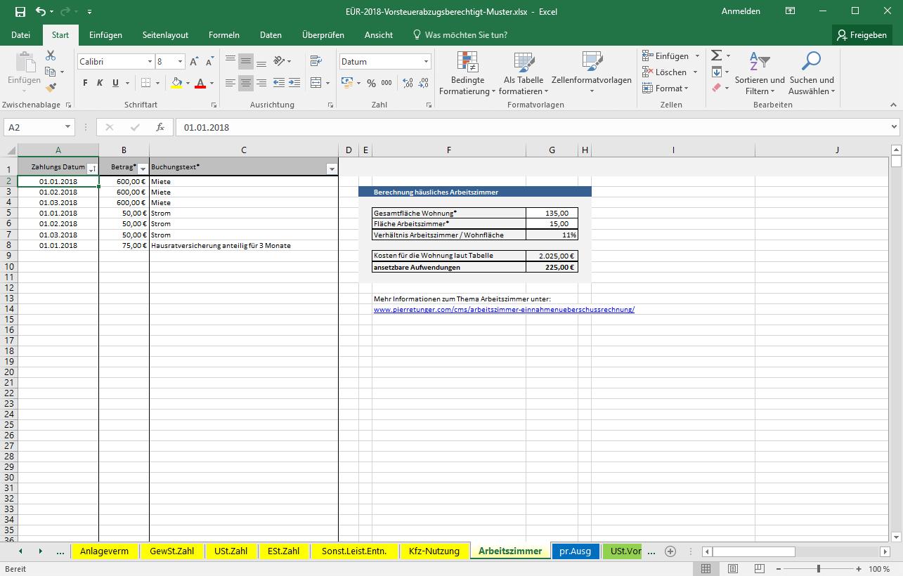 Excel-Vorlage-Einnahmenüberschussrechnung (EÜR) » Pierre Tunger