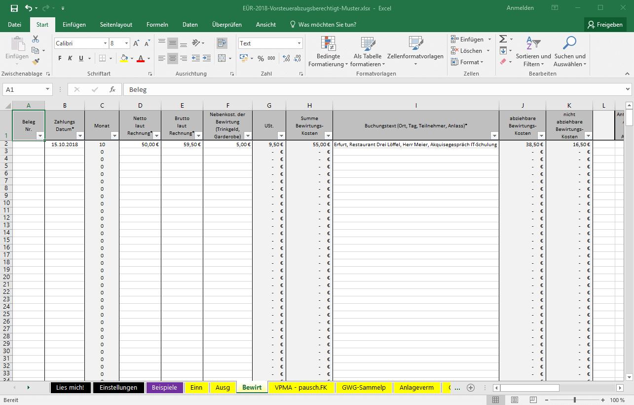 Excel Vorlage Eür 2018 Pierre Tunger