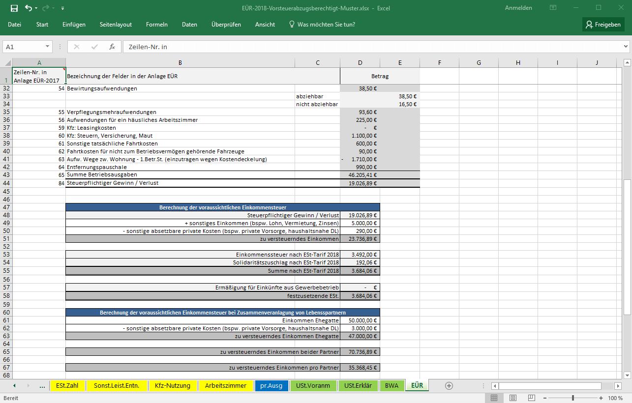 screenshot excel vorlage euer 2018 einnahmen ueberschuss rechnung - Einnahme Uberschuss Rechnung Muster