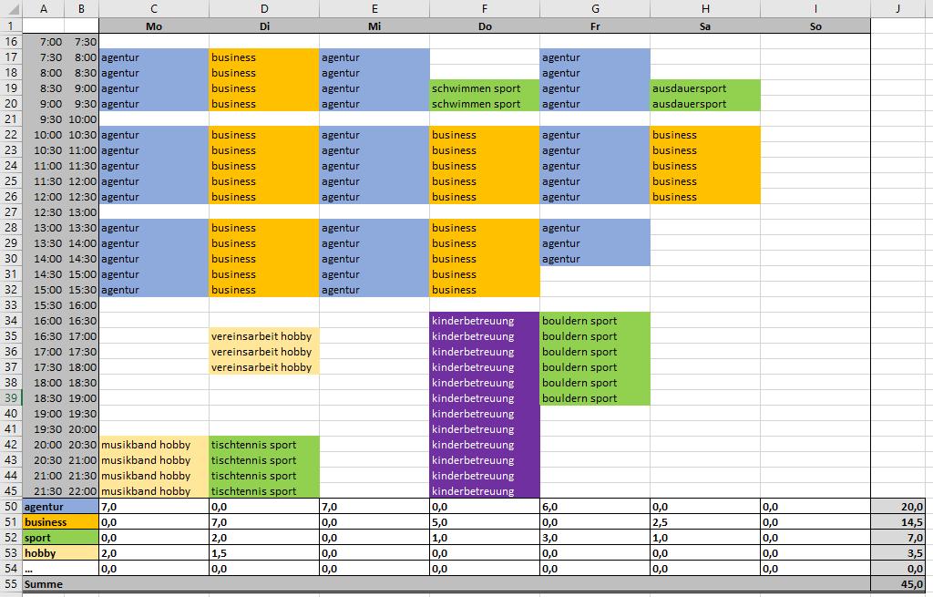 Excel-Vorlage-Wochenplan