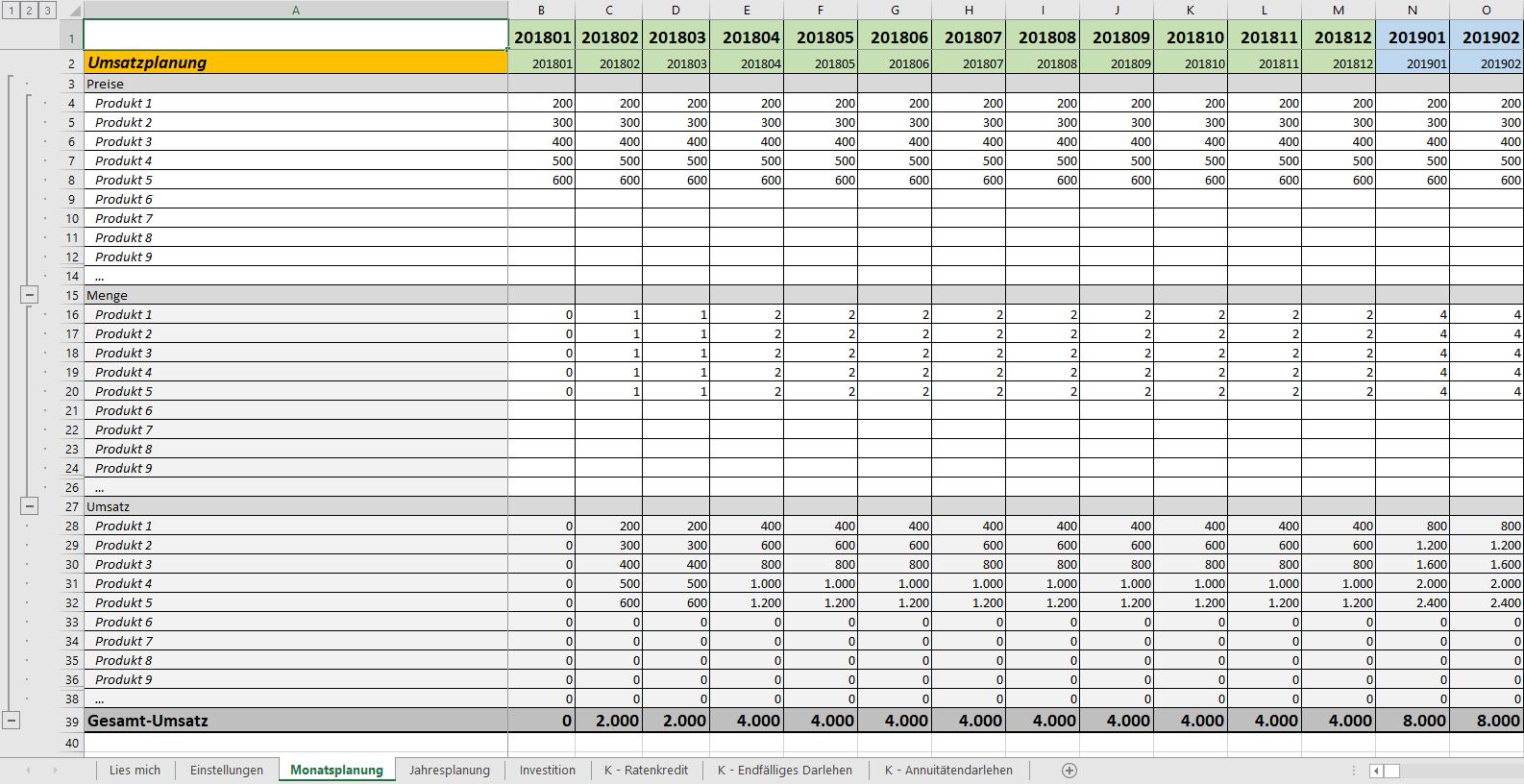 finanzplan excel