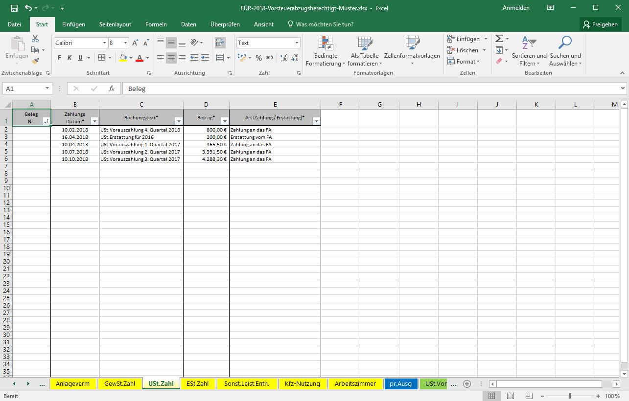 Excel Vorlage Einnahmenüberschussrechnung Eür Seite 2 Pierre