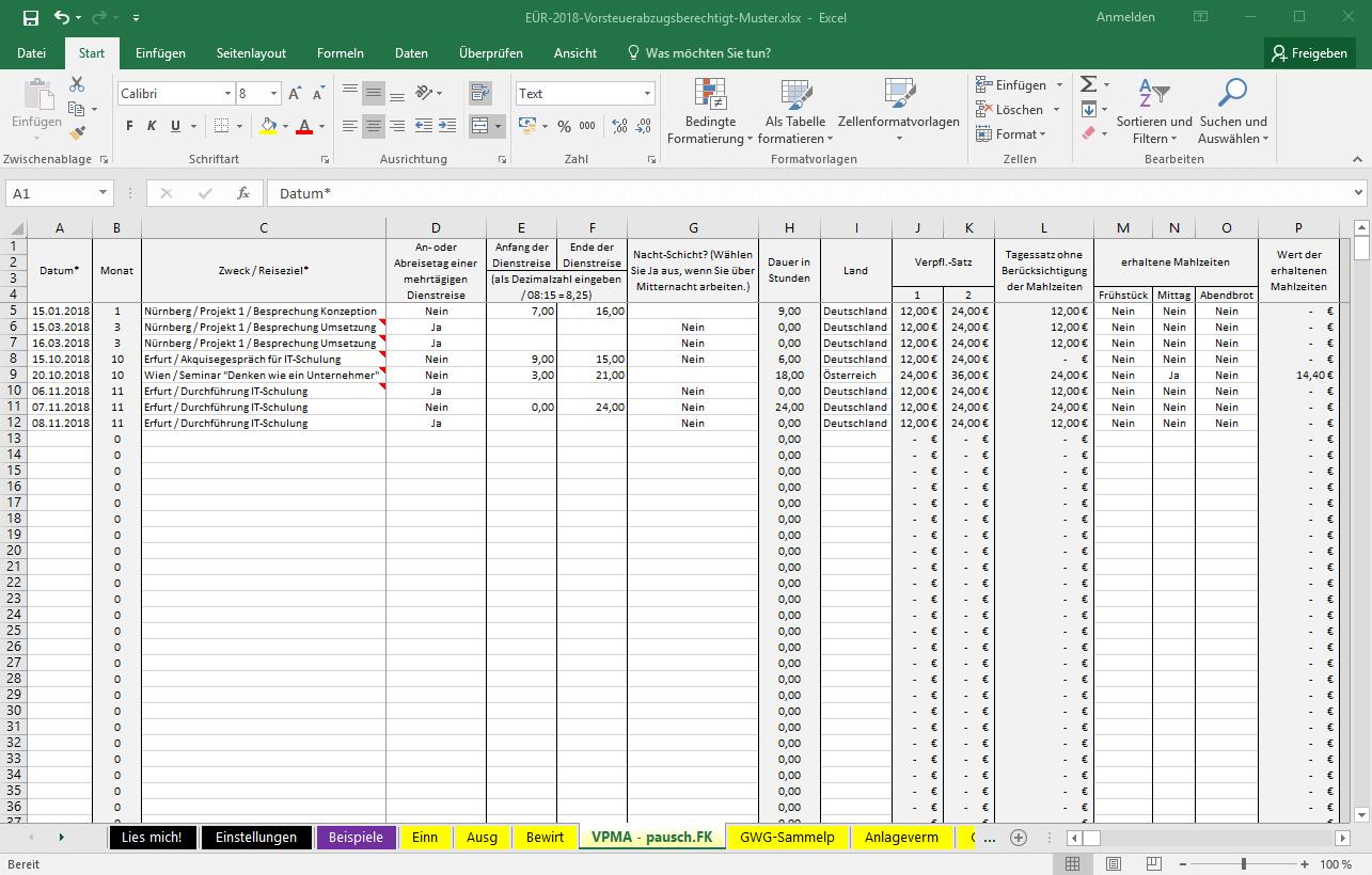 Excel Vorlage Einnahmenüberschussrechnung Eür Pierre Tunger