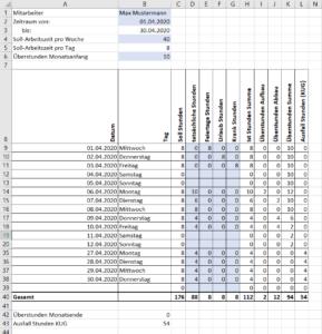 Excel Vorlage Stundenabrechnung Arbeitszeiterfassung