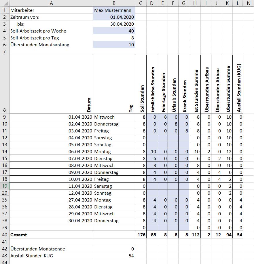 Arbeitszeiterfassung In Excel Vorlage Zur 2